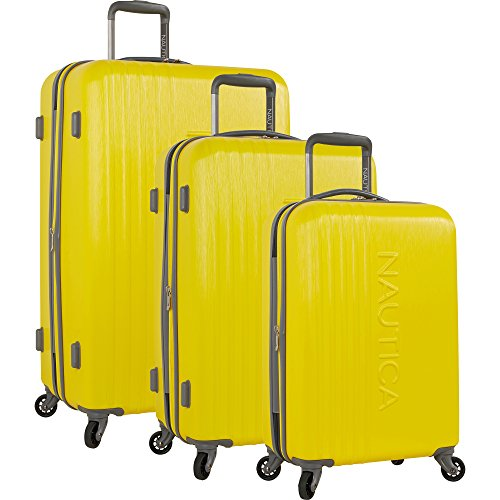 Nautica 3 Piece Hardside Spinner Luggage Suitcase Set, Yellow/Grey