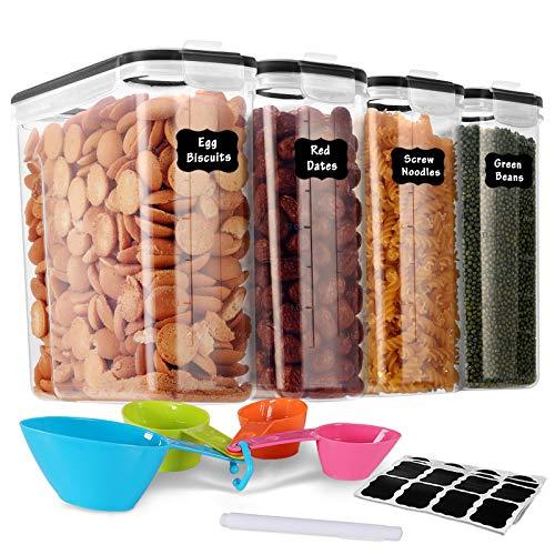 GoMaihe 4L Botes Cocina, Juego de 4 Piezas de Recipiente de Botes Cocina Almacenaje de Plástico de Alimentos Sellados con Tapa, Se Utiliza para Almacenar Cereales, Pasta, Arroz, Harina, Etc
