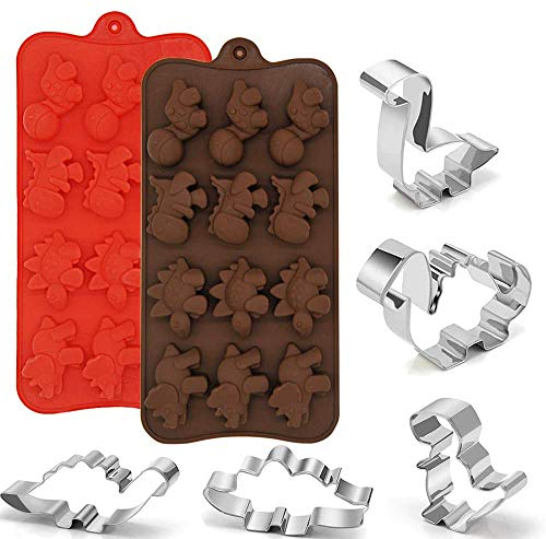 2 Paquetes de Silicona Moldes de Dinosaurio 5 Paquetes Cortadores de Galletas de Acero Inoxidable, Molde de Chocolate de Calidad Alimentaria, Suministros para Fiestas Decoraciones Hechas A Man