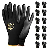 OKIAAS Safety Work Gloves(Bulk 12-Pair Pack, Size L/9) with Grip, Polyurethane(PU) Coated Working Gloves for Mechanic, Warehouse, Gardening, Construction, DIY, Yard Work (Black Large)