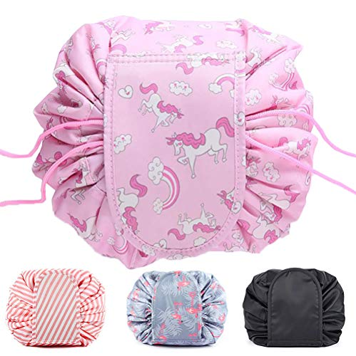 Ebay Makeup Bag Lazy Drawstring Makeup Organizer Storage Bag Cosmetic Jewelry Barrel Cosmetic Bag Pouch Large Capacity Portable Foldable Barrel Travel Accessories for Women and Girls (Rainbow unicorn)