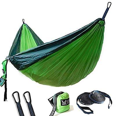 "WINNER OUTFITTERS Double Camping Hammock - Lightweight Nylon Portable Hammock, Best Parachute Double Hammock for Backpacking, Camping, Travel, Beach, Yard. 118""(L) x 78""(W), Dark Green/Green Color"