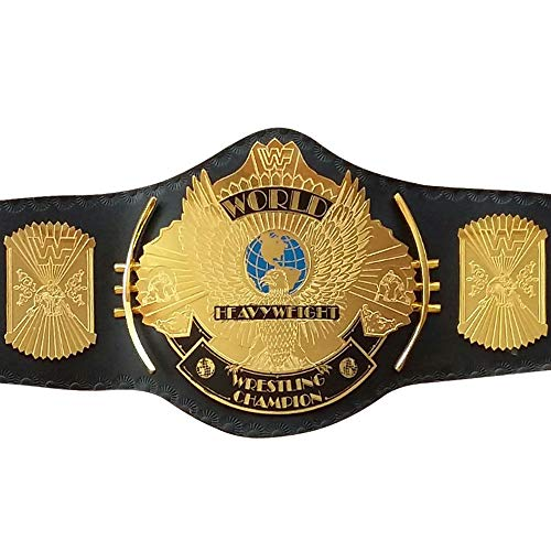 House of Highland 77 WWE/WWF Klassischer Goldener Adler Meisterschaftsgürtel, Messingplatte, schwarzes Leder
