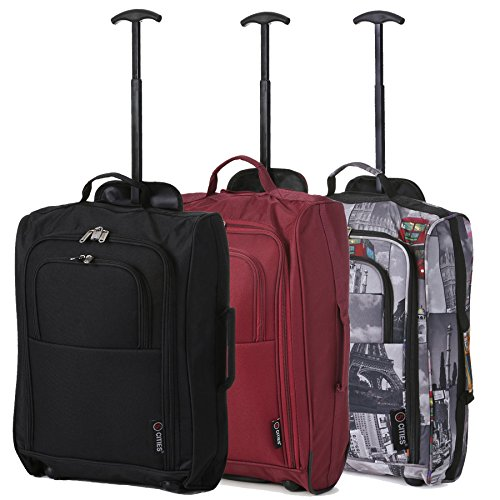 Set of 3 Super Lightweight 5 Cities 21'/55cm Cabin Approved Carry On 2 Wheel Suitcase Trolley Bags Hand Luggage with Sturdy Frame Black / Cities825 / Wine