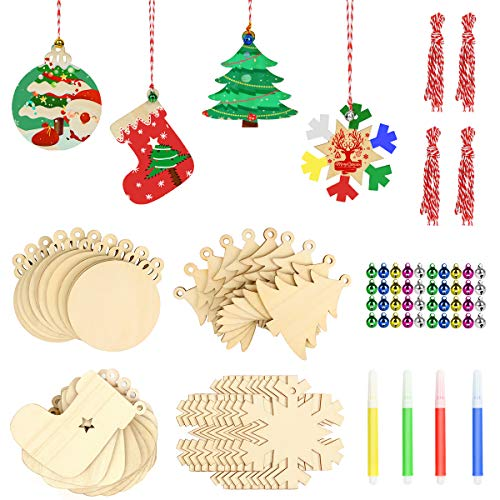 Christmas Ornaments Craft Kits for Kids 40pcs Wooden Unfinished DIY Holiday Trees Hanging Decorations Sock, Snow 4 Styles Predrilled Slices with Hole, String, Color Pens, Jingle Bells Ideas Gifts 2020