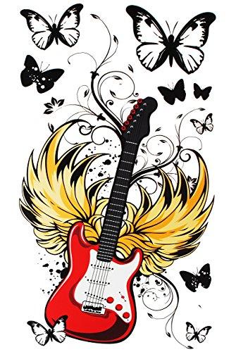 alles-meine.de GmbH 9 TLG. Set: Wandtattoo / Sticker / Fensterbilder - Gitarre Musik Rockabilly - Wandsticker Aufkleber für Kinderzimmer - Musiker Rockgitarre E-Gitarre Sänger - ..