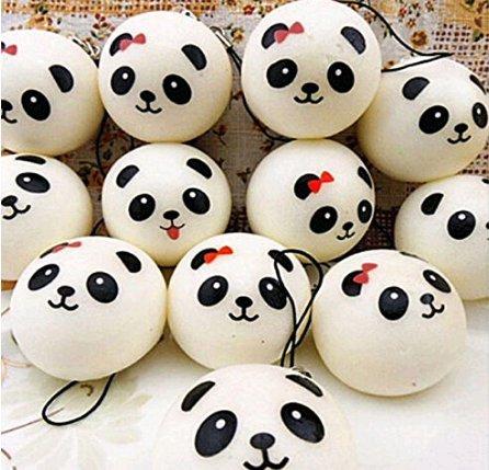 Lkinst Creative Cute Handyanhänger Cute Emoticon Simulation Kleine Panda Brot Handykette