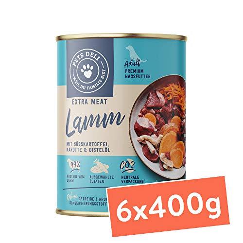 PETS DELI - NATURAL PET FOOD Hundefutter Nass Lamm mit Karotte und Distelöl, 2,4 kg ( 6er-Pack )
