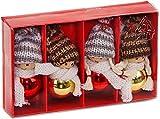 BRUBAKER - Suspensions/Boules pour Sapin de Noël - 4 Pièces - Lutins/Bonhommes tricotés - Figurines en Bois & Crochet - Décoration de Noël Traditionnelle - Hauteur 8 cm