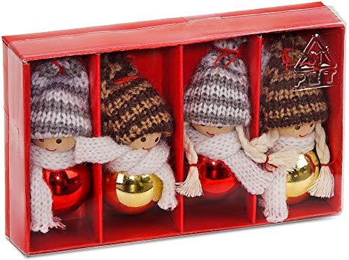 Brubaker 4-teiliges Set Weihnachtswichtel aus Holz und Strick Baumanhänger Weihnachtsanhänger 8 cm in Geschenkbox