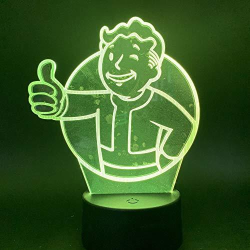 Juego Led 3D Fallout Shelter Luz Nocturna Sensor Táctil Color Cambiante Luz...
