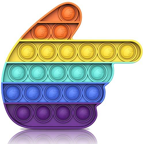 Bdwing Push Bubble Sensorisches Fingerspitzen-Spielzeug, Lindert Stress Und Angst (Regenbogen Hand)