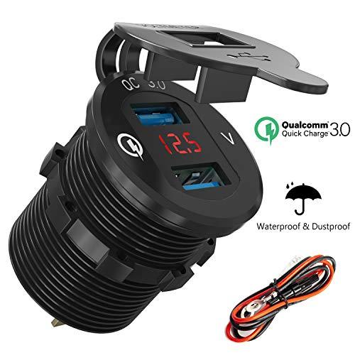 Quick Charge 3.0 USB Auto Steckdose KFZ Ladegerät Einbau Buchse 12V/24V Wasserdicht Zigarettenanzünder Adapter mit LED Voltmeter Batterie Spannungsanzeige 36W QC 3.0 für Motorrad Boot LKW ATV