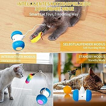 Toozey Jouet Intelligent Pour Chat, Jouet électronique Interactif Pour Chat - Jouet Intelligent à Rotation Automatique - Rechargeable Par USB - Avec Plumes Colorées