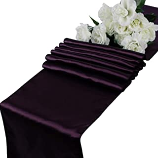 mds Pack of 10 Wedding 12 x 108 inch Satin Table Runner for Wedding Banquet Decoration- Plum