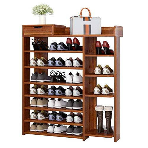 YAeele Bastidores de zapatos zapatero, 7-Tier zapato organizador estante de almacenamiento Gabinete Torres tiene 25 pares de ahorro de espacio Fácil Ensamble (color: el color de ébano antiguo, tamaño: