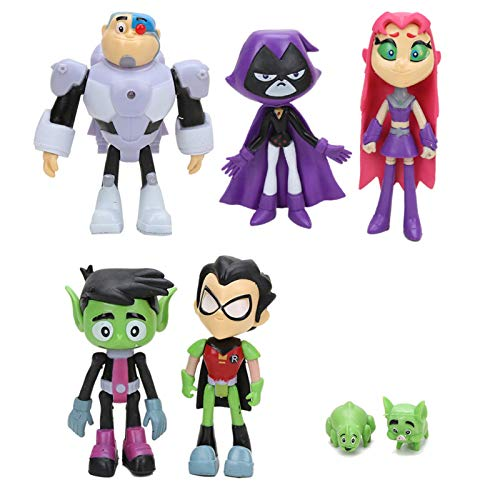 Earlyad 7 figuras Teen Titans Go Action Figures, Teen Titans Go PVC Figure Toy Juvenle Titan Suministros para fiestas temáticas Colección Figure Model Doll Gift for Table Desk Decoración Accesorios