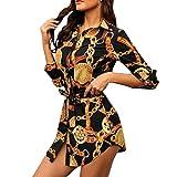 Vestido De Manga Larga para Mujer, Vestido De Camisa con Estampado De Cadena, Vestido Delgado Casual, Vestido Diario De Playa Al Aire LibreHanomes