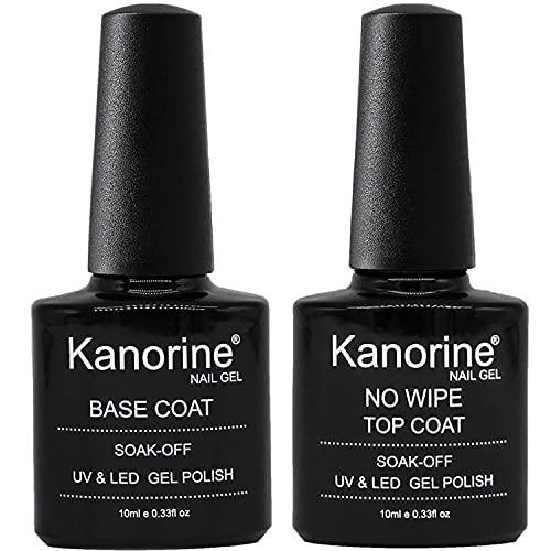 KANORINE  Base e Top Coat UV LED No Wipe Smalto in Gel - Set Composto da Semipermanente Smalto Semipermanente per Unghie in Gel 10ml x2