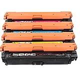 GXZC Reemplazo de Caja de tóner de Color Compatible para HP CP5525, Impresora a Color M750, Negro, Cian, Magenta, Amarillo, 4 Colores 4-Color-Set
