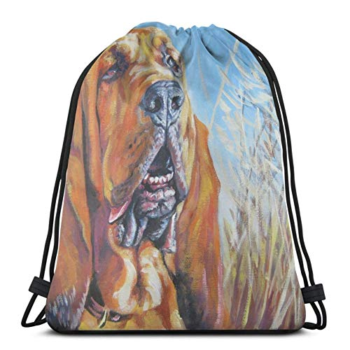 Hdadwy Bloodhound Fine Art Painting Sport Bag Gym Sack Drawstring Backpack for Gym Shopping