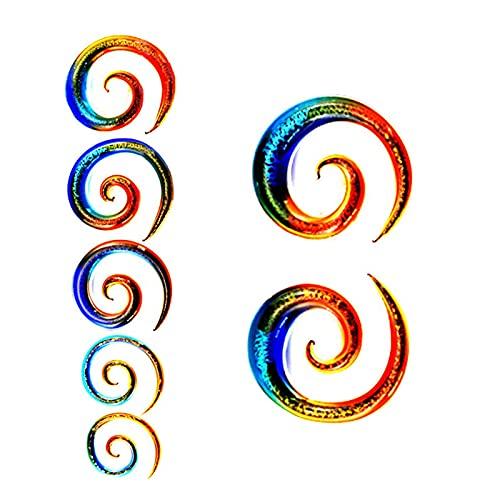 WOERD Par de medidores de oreja en espiral, de acrílico, espiral, dilatador en espiral, 5 – 12 mm (4G – 1/2 pulgadas), kit de expansores de oreja de 5 pares de color rojo