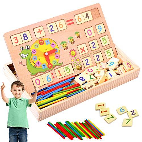 WELLXUNK Mathe Lernen Spielzeug Lernbox mit Multifunktionen Zahlen Lernen mit Rechen-Stäbchen, Zeichnung, Uhr kennenlernen für die frühe Motorik Entwicklung & Ausbildung Ihres Kindes