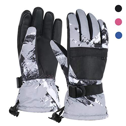 TBoonor Skihandschuhe Touchscreen Winterhandschuhe Herren Damen Kinder Wasserdicht rutschfest Handschuhe für Outdoor Wintersport wie Snowboard Radfahren (1-Schwarz, XS (8-10 Jahre))