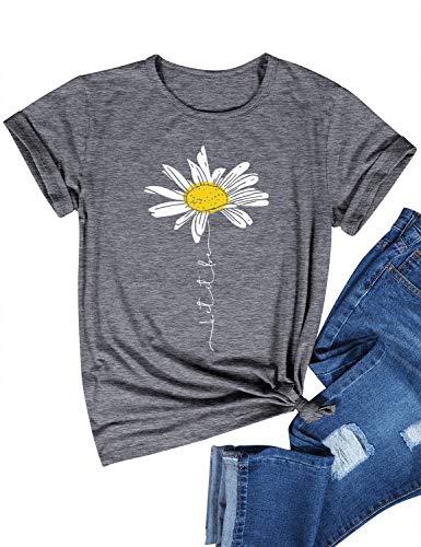Dresswel Damen Let It Be T Shirt Gänseblümchen Grafik Druck T-Shirt Kurzarm Rundhalsausschnitt Tee Shirts Oberteile Sommer Tops