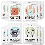Lookatme Animal face mask - 12 Premium Cute Face Sheet Masks For Purifying, Energizing, Smoothing, M...