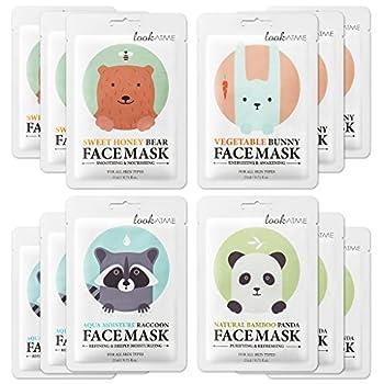 Lookatme Animal face mask - 12 Premium Cute Face Sheet Masks For Purifying Energizing Smoothing Moisturizing Awesome Korean skin care