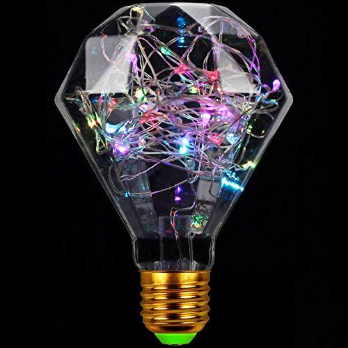 TIANFAN LED-Leuchtmittel, 50 LEDs, RGB, dekorative Glühbirne, Weihnachtsbeleuchtung, Edison-Glühbirne, Nachtlampe, E27, 1,5 W, 220/240 V (Diamant)