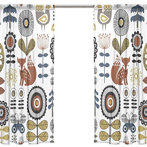 Orediy Vorhang aus Voile, transparent, 2 Paneele, Blumen, Waldtiere, 40 % Verdunklungsstange, langer Vorhang, Fensterbehandlung, Schlafzimmer, Wohnzimmer, 2* 140W x 213 H