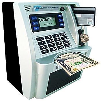 ATM Savings Bank Digital Piggy Money Bank Machine,Electronic Cash Coin Money Box for Kids  Black