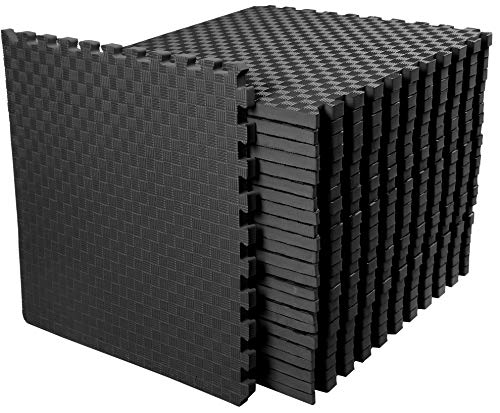 "BalanceFrom 1"" Extra Thick Puzzle Exercise Mat with EVA Foam Interlocking Tiles for MMA, Exercise, Gymnastics and Home Gym Protective Flooring, 72 Square Feet (Black)"