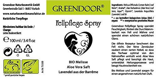 Greendoor Fellpflegespray mit Bio Melisse, Aloe Vera Saft und Lavendel aus der Barreme, 100ml natürliche Fellpflege als ölfreies Spray, pflegt das Fell, beruhigt die Haut, duftet natürlich, verbessert die Kämmbarkeit, 100% Natur, Tierpflege aus der Naturkosmetik Manufaktur Greendoor - 3