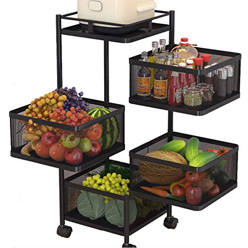 LTLJX Carros de Cocina Giratorios con Ruedas, Carro de Almacenamiento Móvil Multicapa, Carritos de Servicio, Almacenamiento de Muebles de Oficina, Estantes de Frutas y Verduras para Cocinas,4F