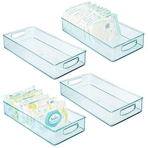 mDesign - Opbergbak - opbergcontainer/organizer - met handvatten - voor luiers, kleding, speelgoed en meer - handig voor babykamer, slaapkamer of speelkamer - groot/zeeblauw - blauwe tint - per 4 stuks verpakt