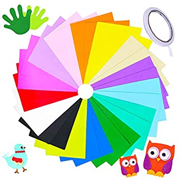 30 Pieces 15 Colors EVA Foam Sheets,Colorful Foam Handicraft Sheet,Rainbow Crafting Sheets with Double-Sided Tape for Scrapbooks,Kids,School Artwork Projects,DIY Craft,Party Decoration