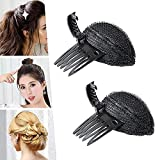 Puff Hair Head Cushion, Hair Volume Increase Fluffy Sponge Puff Comb Clip DIY Styling, Pinza Esponjosa Invisible para Hacer Moños con Almohadilla para Cabello, para Mujeres y Niñas