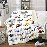 Aircraft Sherpa Blanket 3D Print Various Airplane Blanket Throw for Kids Teen Boys Fighter Flight Helicopter Fleece Blanket Cartoon Aviation Theme Fuzzy Blanket Ultra Soft Baby White