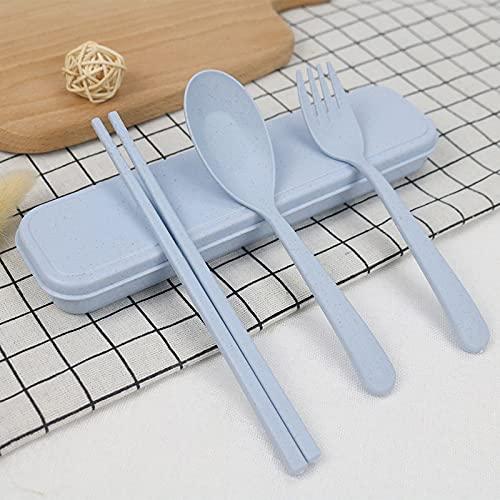 MYDZMY Juego de vajilla de paja de trigo para niños, palillos, tenedor y cuchara, juego de 3 piezas, caja de regalo portátil, palillos de 21 x 7,5 cm, tenedor azul + caja de trigo + caja de papel