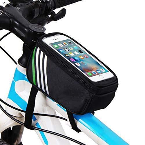 Equipaje La Bolsa de sillín de Bicicleta, Teléfono móvil Bolsa de una Silla Frente Beam Paquete de Bicicletas de montaña de teléfono móvil a Prueba de Agua Bolsa Bolsa de Viaje (Color : Black)