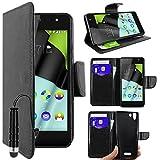 ebestStar - kompatibel mit Wiko Selfy 4G Hülle Kunstleder Wallet Case Handyhülle [PU Leder], Kartenfächern, Standfunktion + Mini Stift, Schwarz [: 141 x 68.4 x 7.7mm, 4.8'']