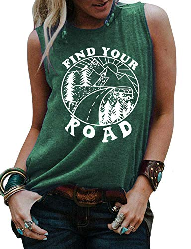 Umsuhu Find Your Road Shirts Tank Tops Women Sleeveless Summer Graphic Tank Tops Tee Shirts Small Green