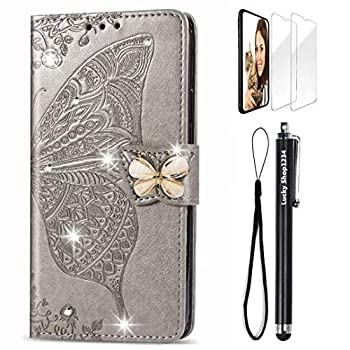 for Samsung Galaxy A10 Wallet Case Handmade 3D Bling Diamond Butterfly & Butterflies Embossed Leather Stand Flip Folio Phone Cover with Stylus Pen & Screen Protector & Card Holder & Hand Strap