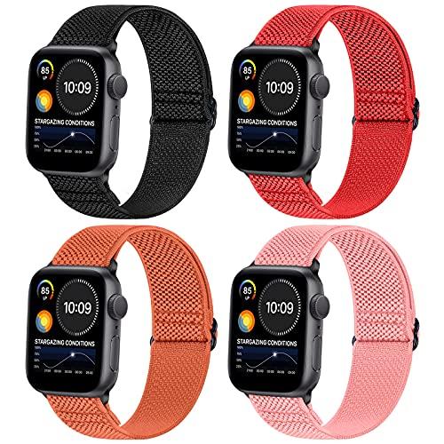 WNIPH Sport Solo Loop Nylon Correa Compatible con Apple Watch Correas 40/38mm iWatch Correa 44/42mm,Suave Ajustable Elástica Nylon Trenzada Transpirable Pulsera De Repuesto para iwatch SE/6/5/4/3/2/1