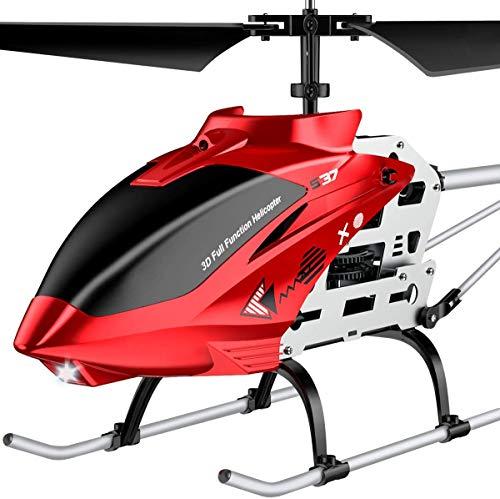 SYMA Groß RC Helikopter Hubschrauber ferngesteuert Fernbedienung Helicopter Indoor Outdoor Flugzeug Geschenk Kinder S37 3.5 Kanal 2.4 Ghz LED Leucht Gyro Höhe halten Rot