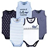 Hudson Baby Unisex Baby Cotton Sleeveless Bodysuits, Sailor Whale, 18-24 Months