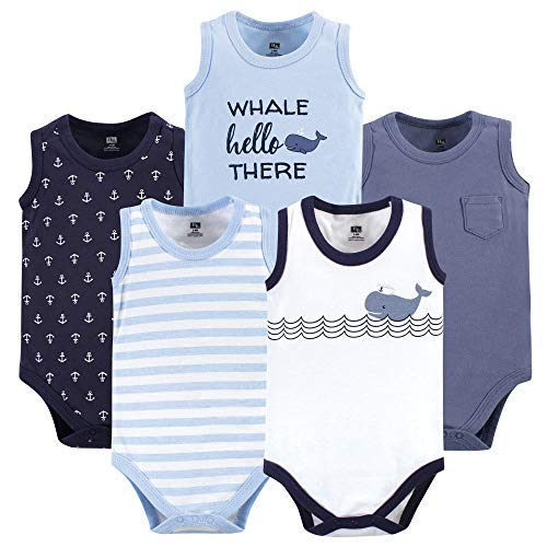 Hudson Baby Unisex Baby Cotton Sleeveless Bodysuits, Sailor Whale, 6-9 Months